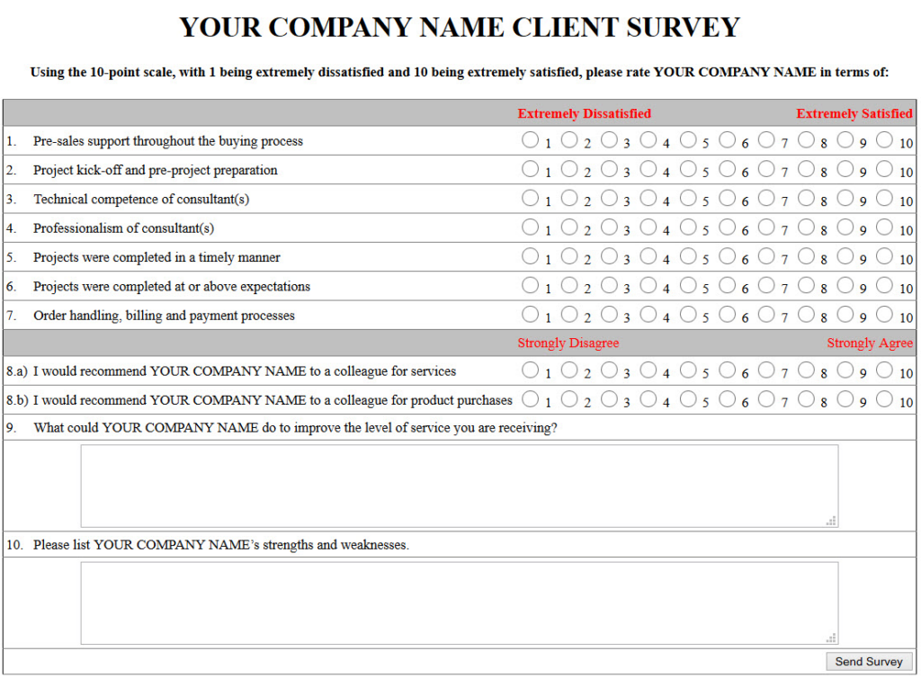 Net promoter score surveys for oracle eloqua eloqua nps for Net promoter score survey template